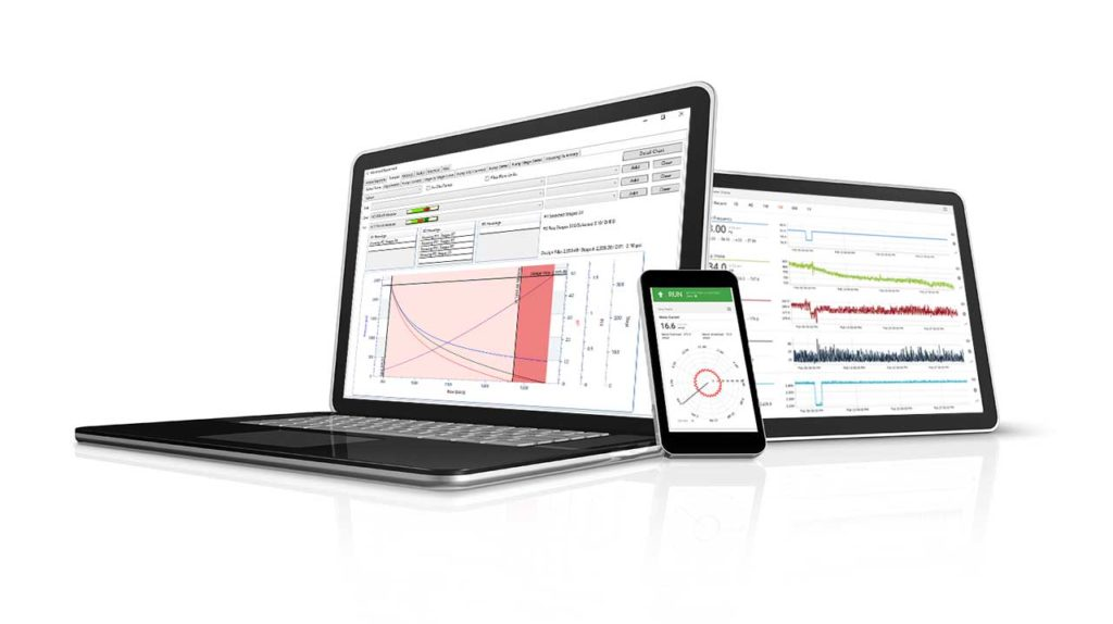 Image of computer, cell phone and tablet with reports for better monitoring