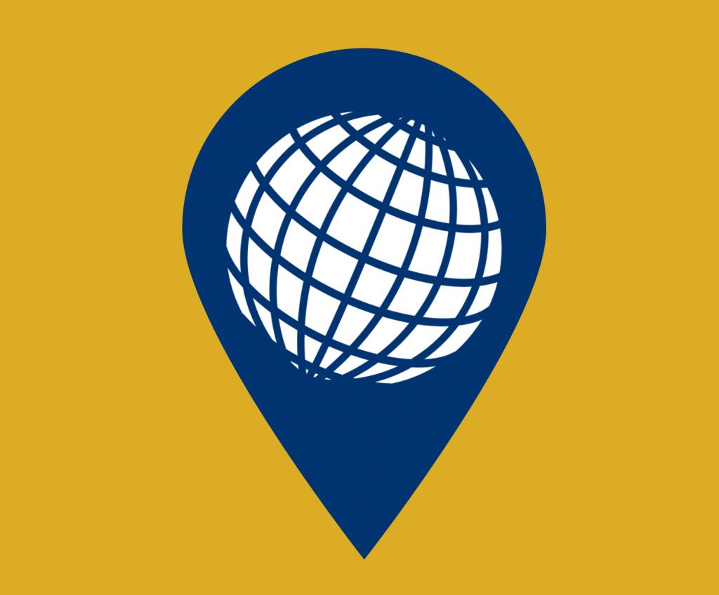 Globe map pin icon